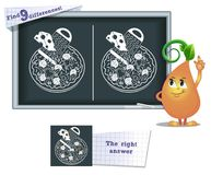Game find 9 differences draw  pizza. Visual game for children and adults. Task to find 9 differences in the illustration on the school board Royalty Free Stock Photos