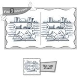 Find 9 differences game  library. Visual game for children and adults. Task to find 9 differences in the illustration  school library. black and white Stock Images