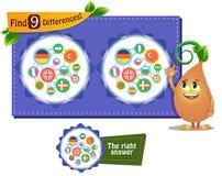 Language game 9 differences Stock Image