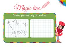 Piggy only of one line. Visual Game for children. Coloring book education. Task: Draw a picture only of one line piggy Stock Photos