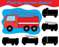 Visual game for children. Find the correct shadow of fire engine transport.  Stock Photo