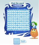 Find the word  Christmas. Visual Game for children. Task: find the word  Christmas. Christmas game for children and adults Stock Photography