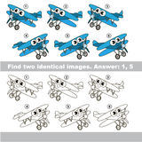 Visual game. Find hidden couple of Aircrafts. The design difference. Vector visual game for kid education. Simple level of difficulty. Easy educational game Stock Image