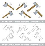 Visual game. Find hidden couple of Axe Royalty Free Stock Photos
