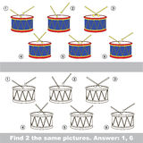 Visual game. Find hidden couple of Drums. The design difference. Vector visual game for children. Task and answer. Find two similar Drums Royalty Free Stock Photos