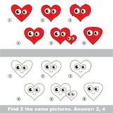 Visual game. Find hidden couple of Hearts. The design difference.  Vector visual game. Task and answer. Find two similar Hearts Stock Photo