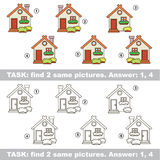 Visual game. Find hidden couple of House. Design different, color equal.  Vector visual game. Task and answer. Find two similar House Stock Images