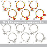 Visual game. Find hidden couple of Necklaces Stock Photo