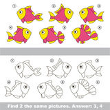 Visual game. Find hidden couple of Pink Fishes. Stock Photos