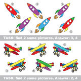 Visual game. Find hidden couple of Rocket and Plane Royalty Free Stock Photography
