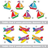Visual game. Find hidden pair of Boat and Plane. Design equal, color different. Visual vector game. Task and answer. Find two similar Boat and Plane Stock Photography