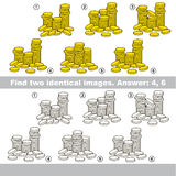 Visual game for kids to find hidden couple of objects. Stock Photography