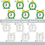 Visual game for kids to find hidden couple of objects. The educational kid matching game for preschool kids with easy gaming level, he task is to find similar Stock Photo