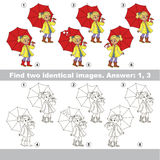 Visual game for kids to find hidden couple of objects. Stock Photo