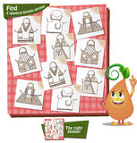 Visual Game kitchen aprons. Visual Game for children. Task: Find 2 identical kitchen aprons Royalty Free Stock Photo