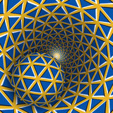 Visual illusion illustration. A ball is moving on rotating yellow funnel with blue triangles Stock Photography