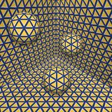 Visual illusion illustration. Three balls are moving on in the yellow blue expanding corner. Abstract fantasy in a surreal style Stock Photo