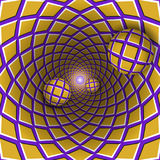 Visual illusion illustration. Three checkered balls are moving from checkered golden purple hole. Royalty Free Stock Photo