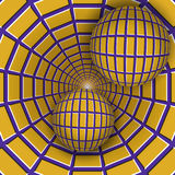 Visual illusion illustration. Two balls are moving on rotating purple funnel with yellow quadrangles. Royalty Free Stock Photography