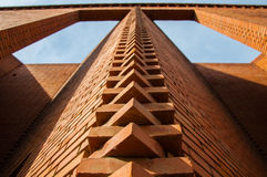 Visual impact. This photo was taken in Beijing red brick art district, wonderful arrangement of bricks to bring people a visual impact Stock Photos