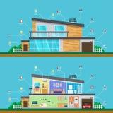 Visual infographics smart modern home. Interior and exterior of house. Visual infographics smart modern home. Interior and exterior of the house, cross section vector illustration
