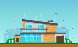 Visual infographics smart modern smart home system control. Visual infographics modern smart home system control. Interior and exterior of the house, interface vector illustration
