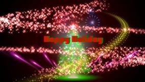 Visual Light Show over christmas tree stock footage