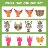 Visual logic puzzle Circle the odd one out. Kawaii animals cow bear raccoon zebra unicorn fox, pastel colors on blue background. V. Ector illustration Royalty Free Stock Photos