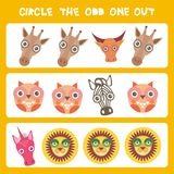 Visual logic puzzle Circle the odd one out. Kawaii animals cow zebra lion unicorn giraffe owl, pastel colors on blue background. V. Ector illustration Stock Images
