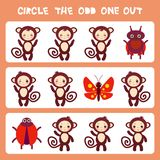 Visual logic puzzle Circle the odd one out. Kawaii brown monkey with pink cheeks and winking eyes, butterfly and ladybug pastel co. Lors on pink background Stock Images