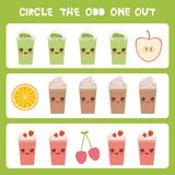 Visual logic puzzle Circle the odd one out. Kawaii colorful apple coffee smoothies orange cherry with pink cheeks and winking eyes. Pastel colors on white Royalty Free Stock Images