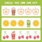 Visual logic puzzle Circle the odd one out. Kawaii colorful apple coffee smoothies orange cherry with pink cheeks and winking eyes. Pastel colors on white Royalty Free Stock Photography