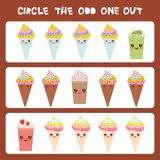 Visual logic puzzle Circle the odd one out. Kawaii colorful coffee kiwi strawberry smoothies, ice cream cone with pink cheeks and. Winking eyes, pastel colors Stock Photography