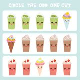 Visual logic puzzle Circle the odd one out. Kawaii colorful coffee kiwi strawberry smoothies, ice cream cone with pink cheeks and. Winking eyes, pastel colors Royalty Free Stock Images