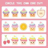 Visual logic puzzle Circle the odd one out. Kawaii colorful cupcake apple orange cherry  with pink cheeks and winking eyes, pastel. Colors on white background Royalty Free Stock Image