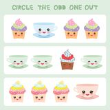 Visual logic puzzle Circle the odd one out. Kawaii colorful cupcake coffee cup with pink cheeks and winking eyes, pastel colors on. White background. Vector Stock Photography
