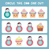 Visual logic puzzle Circle the odd one out. Kawaii colorful cupcake Russian dolls matryoshka with pink cheeks and winking eyes, pa. Stel colors on blue Royalty Free Stock Photo