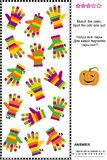 Visual logic puzzle with colorful striped gloves. Visual logic puzzle (suitable both for kids and adults): Match the pairs of colorful striped gloves. Spot the Stock Photography
