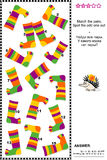 Visual logic puzzle with colorful striped socks. Visual logic puzzle (suitable both for kids and adults): Match the pairs of colorful striped socks. Spot the odd Royalty Free Stock Photos
