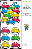 Visual logic puzzle with colorful toy cars Royalty Free Stock Photography