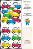Visual logic puzzle with colorful toy cars Royalty Free Stock Photo