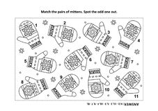Visual logic puzzle and coloring page with knitted mittens. IQ training visual logic puzzle and coloring page with Santa`s or somebody`s else knitted mittens Stock Image