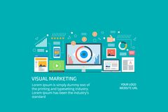 Visual marketing, video, digital content publication, display and infographic promotion. Flat design banner. Concept of modern visual marketing, an eyeball on a Royalty Free Stock Images