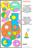 Visual math puzzle - count circles Stock Illustration