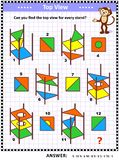 Visual math puzzle - find the top view for colorful abstract stands stock photo