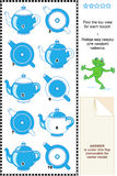 Visual math puzzle - find the top view for each teapot Stock Photo