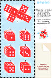 Visual math puzzle with red dice cubes Royalty Free Stock Photos