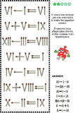 Visual math puzzle with roman numerals and matchsticks. Visual math puzzle with roman numerals: In every row remove just one matchstick to make the equation Royalty Free Stock Image