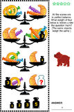 Visual Math Puzzle With Scales, Weights, Baked Goods And Candies Royalty Free Stock Images