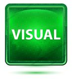 Visual Neon Light Green Square Button royalty free illustration
